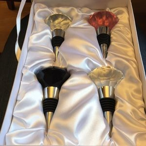 Neiman Marcus set Faceted Crystal Bottle Stoppers